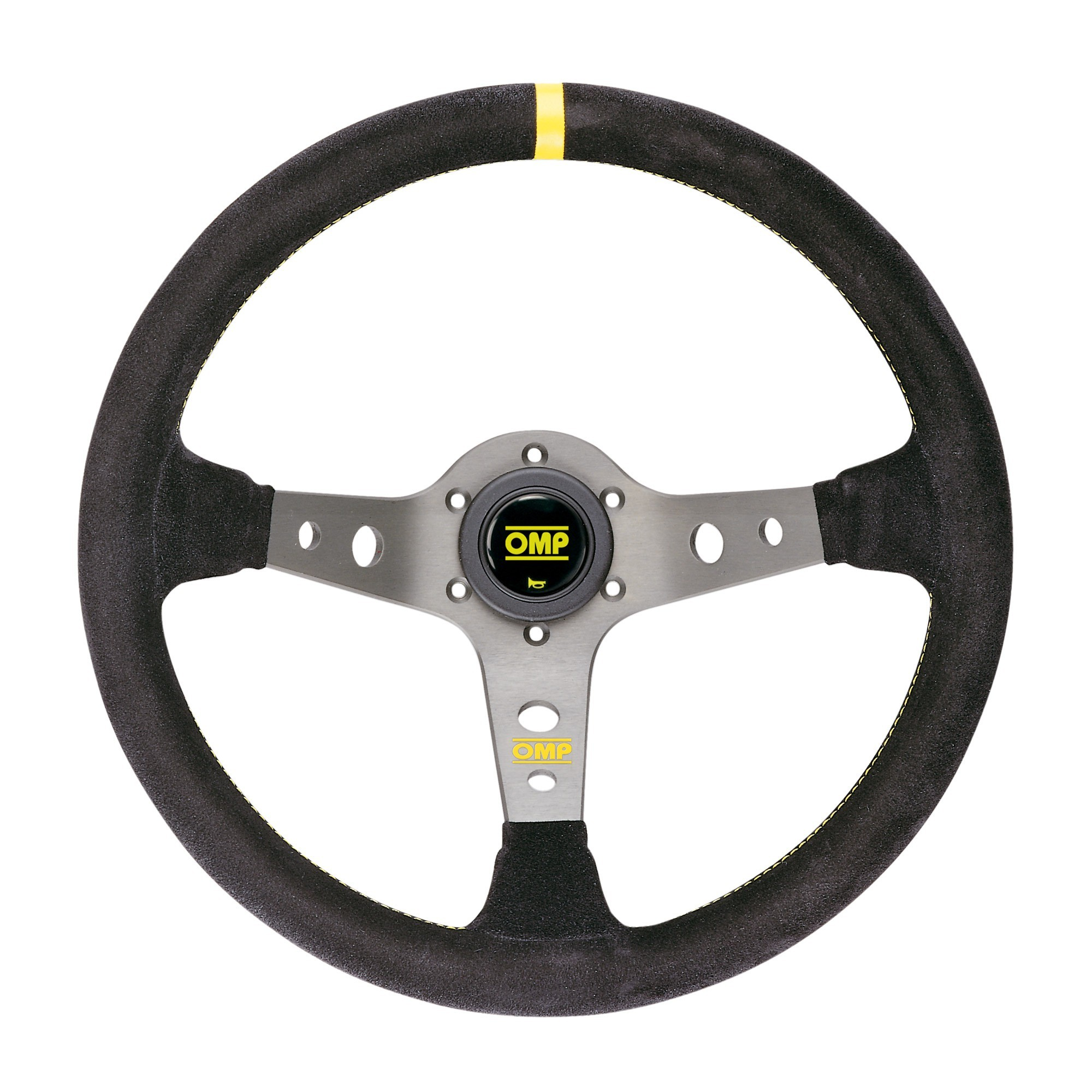 OD//1954//N OMP Corsica Leather Steering Wheel 350mm Black Anodized Spokes