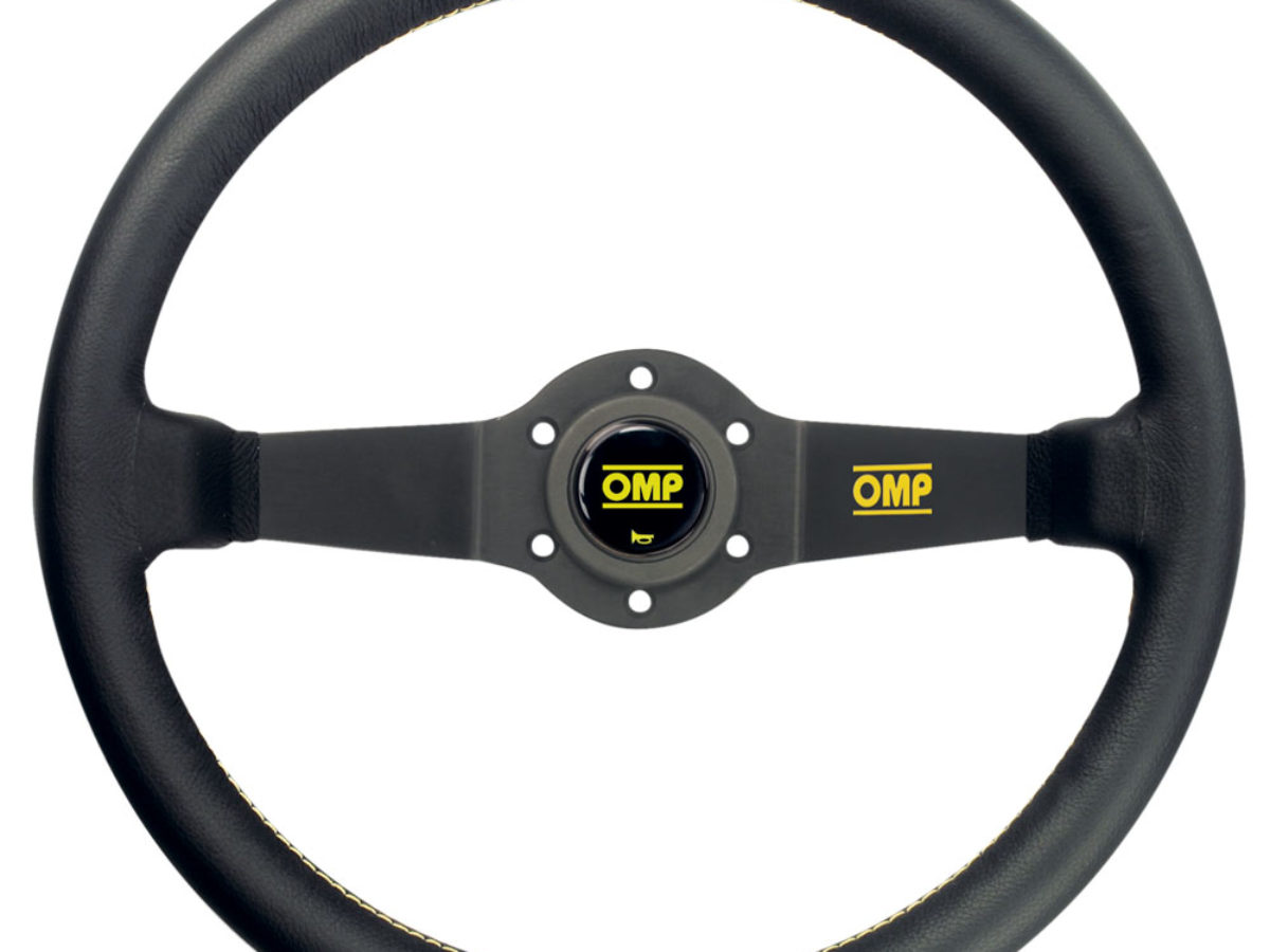 New 350mm Universal OMP Black Leather Yellow Stitching Deep Dish Steering Wheel